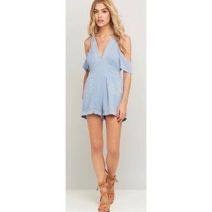 NWT MINKPINK Blue Spirited Away Romper